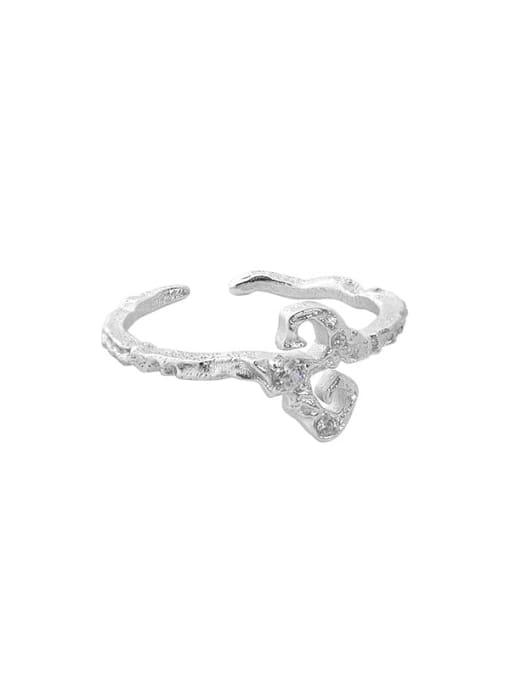 Silver [14 adjustable] 925 Sterling Silver Rhinestone Irregular Vintage Band Ring